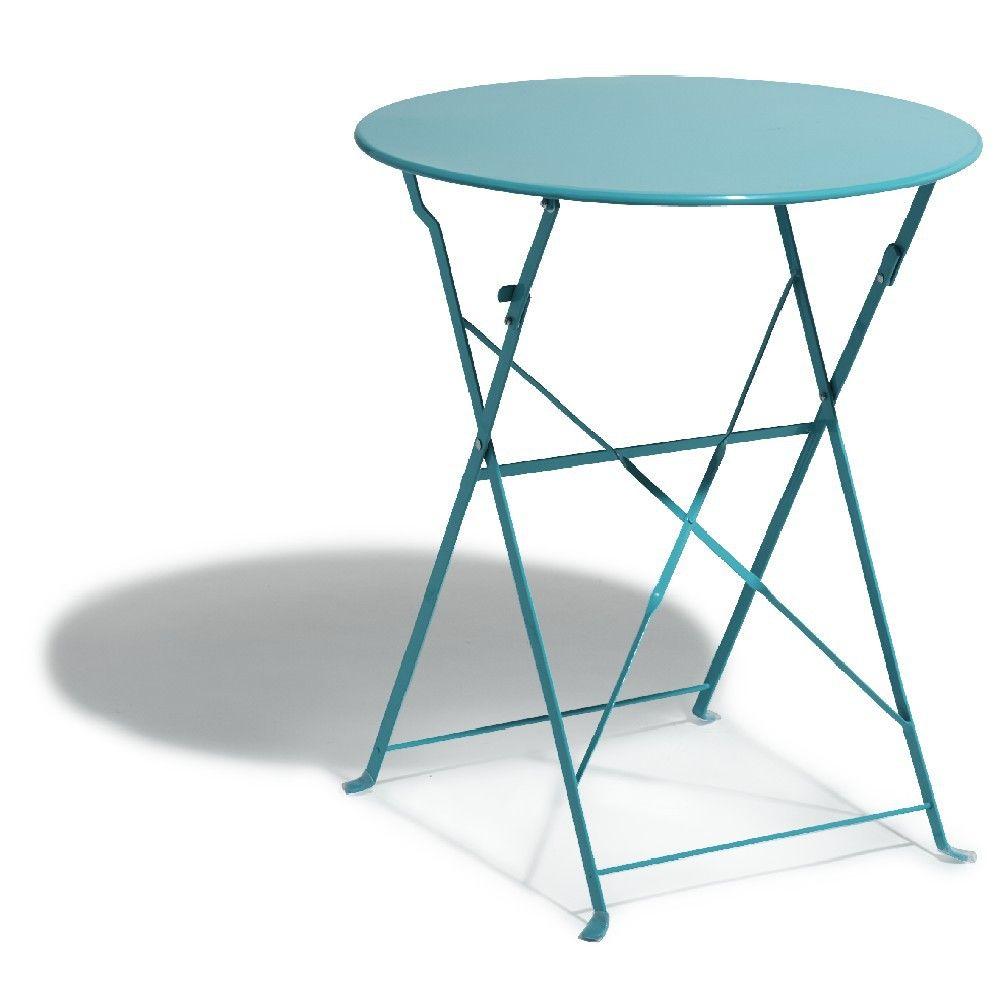 Table de jardin ronde pliante 2 personnes métal bleu ...