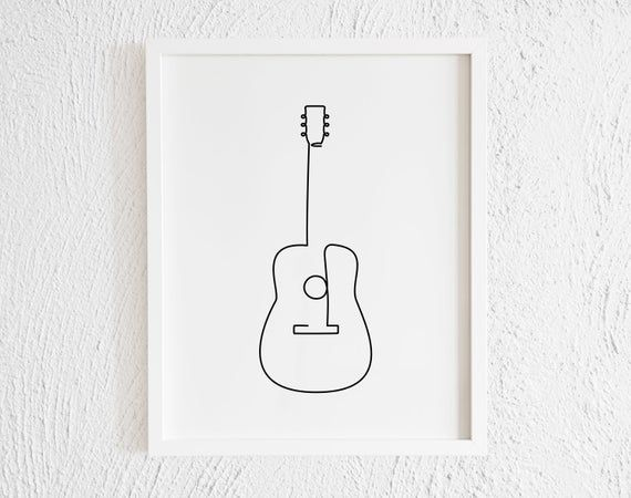 Guitar Drawing Print. Printable Minimalist Guitar Doodle Wall Decor. Modern Music Instrument Gallery Art. Classical Folklore Salsa Merengue