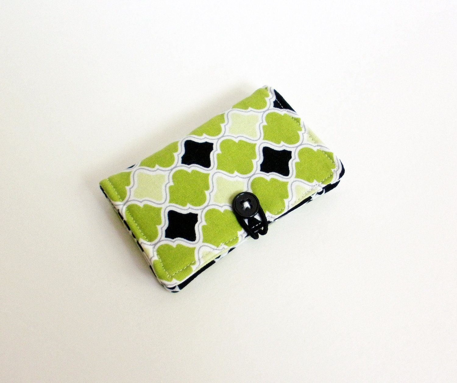 Lime Green Fabric Business Card Holder, with Green, Grey and Black ...