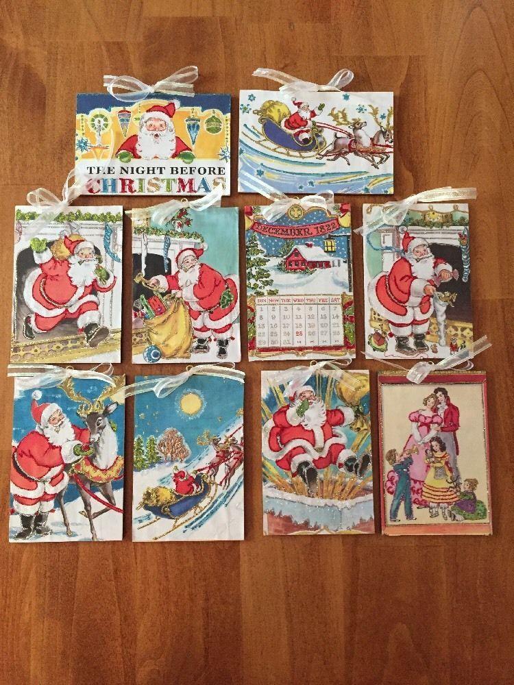 10 Vintage Glittered Ornaments Night Before Christmas 1968 Book OOAK  | eBay