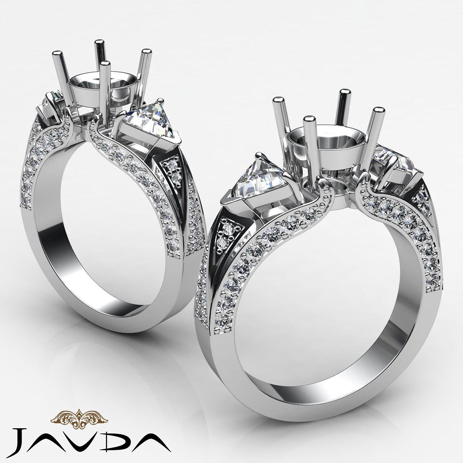 Trillion Round Diamond 3 Stone Semi Mount Unique Wedding