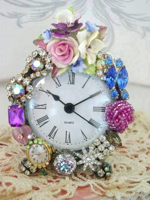 Old jewerly used to make this alarm clock beautiful