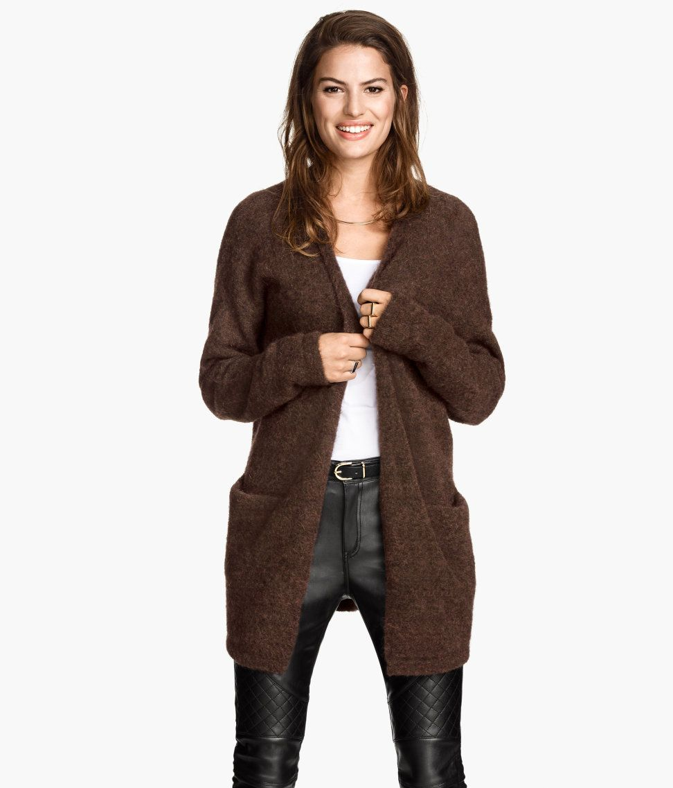 Dark brown fine-knit cardigan with merino wool & mohair blend ...