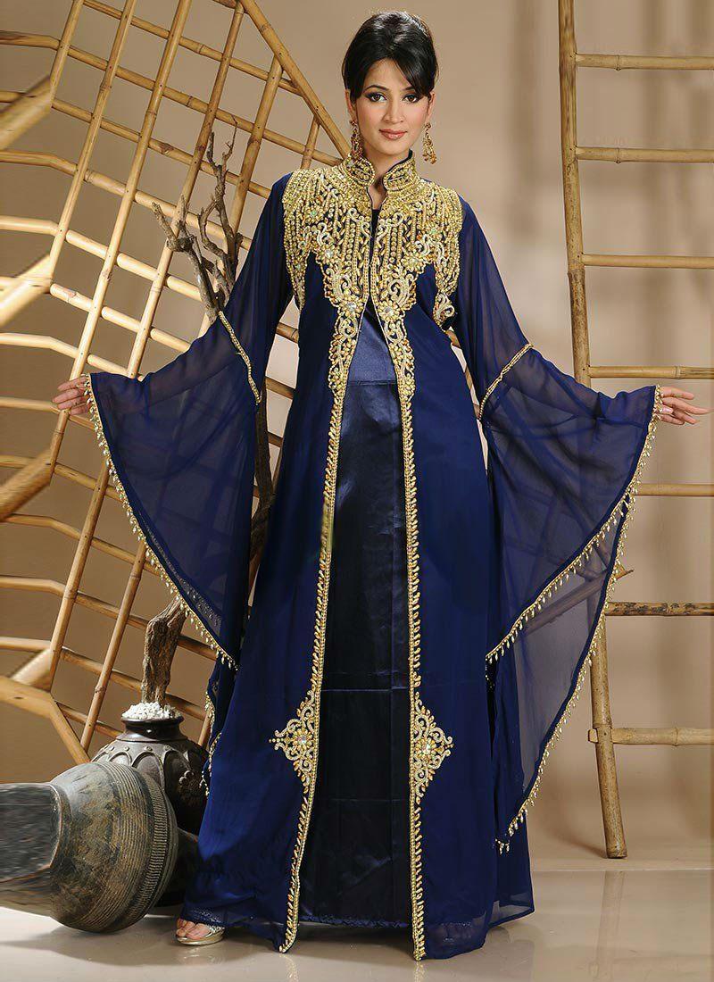 hijabfashion #eid #Hijabstyle #abaya #Kaftan #dubaikaftan -Dark Blue ...