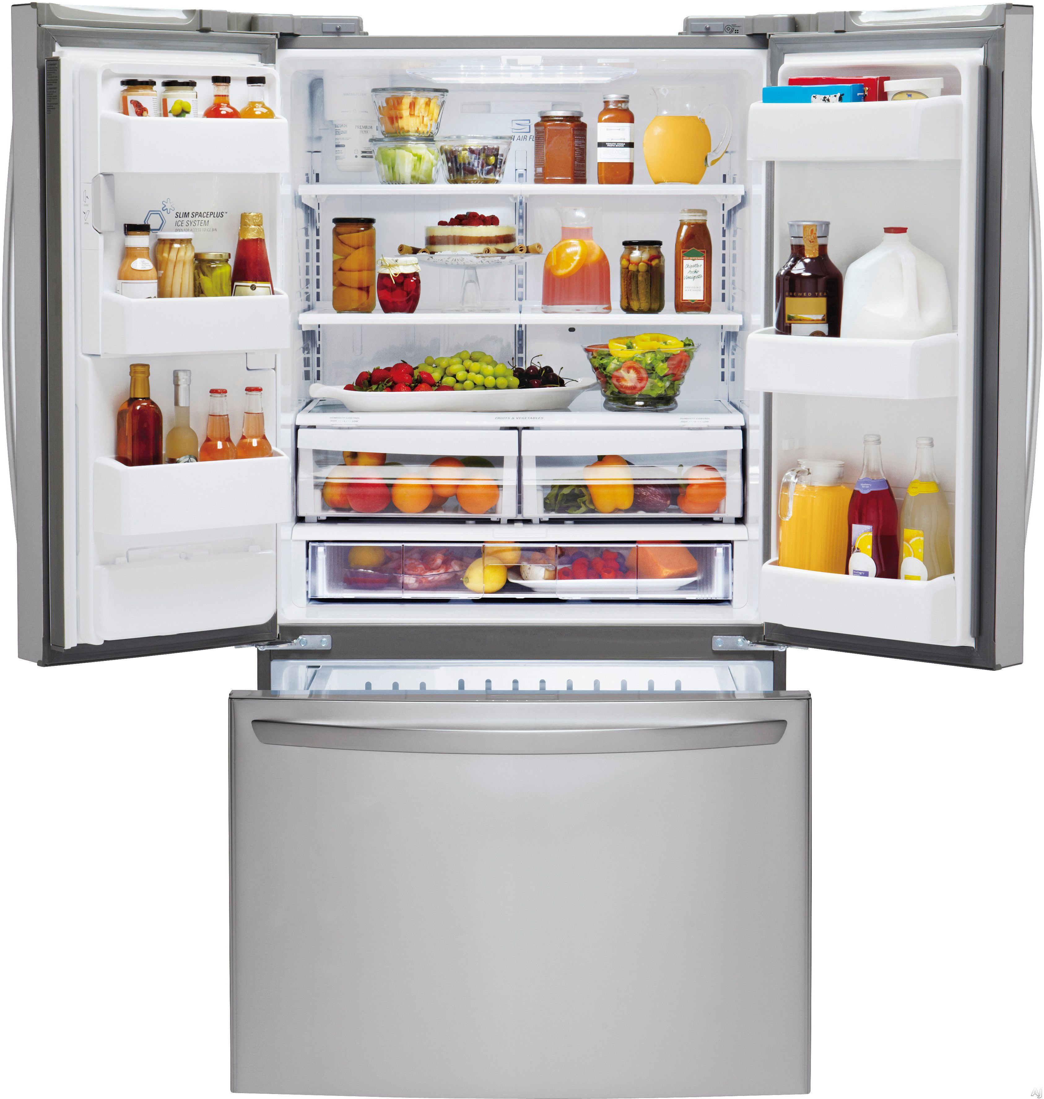 Lg Lfx25973st 24 7 Cu Ft French Door Refrigerator With Spill