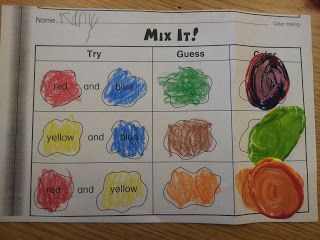 Color Mixing worksheet. I could make something like this
