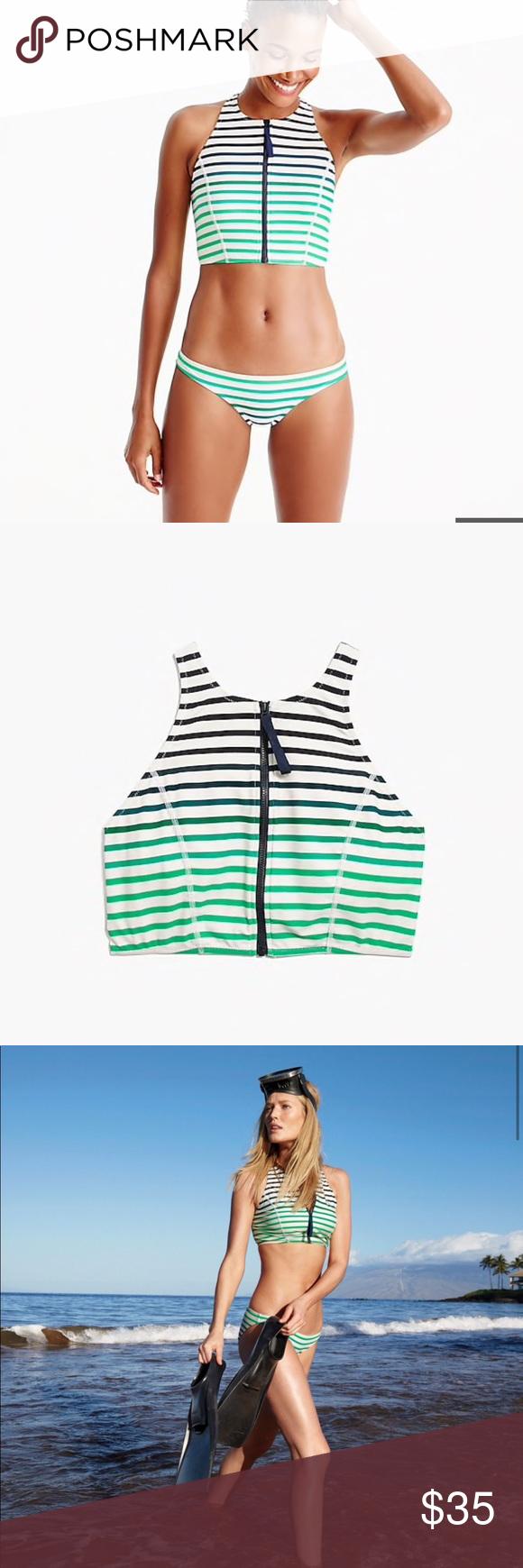 899c450e09 Jcrew zip front bikini top ombré stripe S Great condition with no flaws.  Size small. J. Crew Swim Bikinis