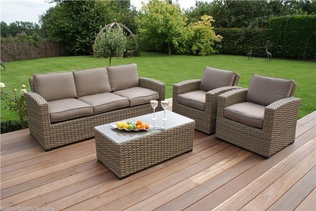 aff8d904cf9d9 Milano Natural Rattan Garden Furniture 3 Seater Beige Sofa Set Milano Natural  Rattan Garden Furniture 3