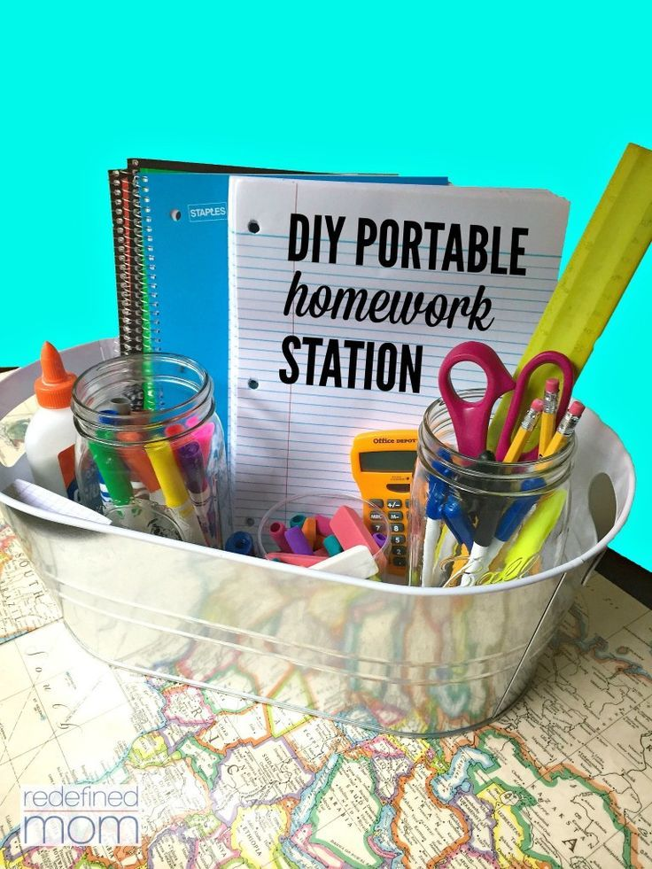 DIY Portable Homework Station. The trick is to find a good tray, bin, crate or basket, preferably with handles, that can be toted around the house to follow the kids wherever they may land