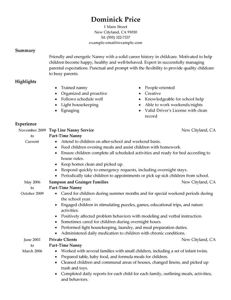 Part Time Job Resume Template Part Time Nanny Resume Example Personal Amp Services Sample