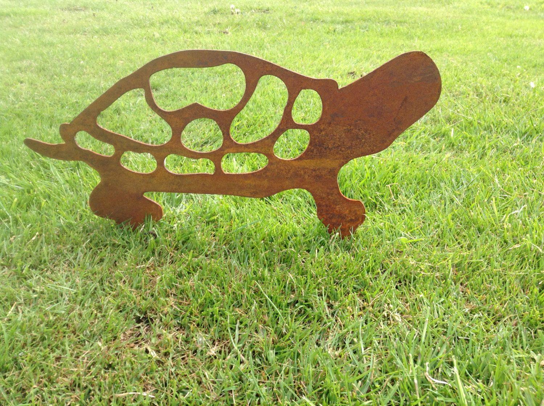 Rusty Tortoise Metal Garden Art / Metal Tortoise Silhouette / Garden ...