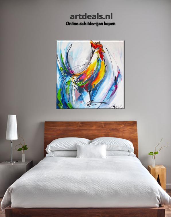 Een slaapkamer met een moderne kippen schilderij. | Dieren ...