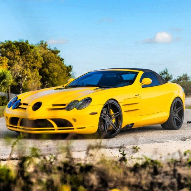 Yellow Mercedes-Benz SLR Convertible