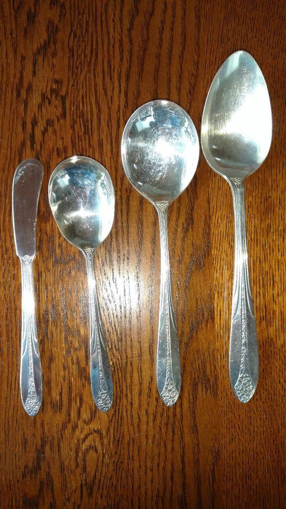 Lot of 4 National Silverplate PRINCESS ROYAL Flatware Dessert Forks