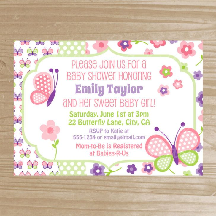 Beautiful Floral and Butterfly Baby Shower Invitation Template - baby shower invite templates