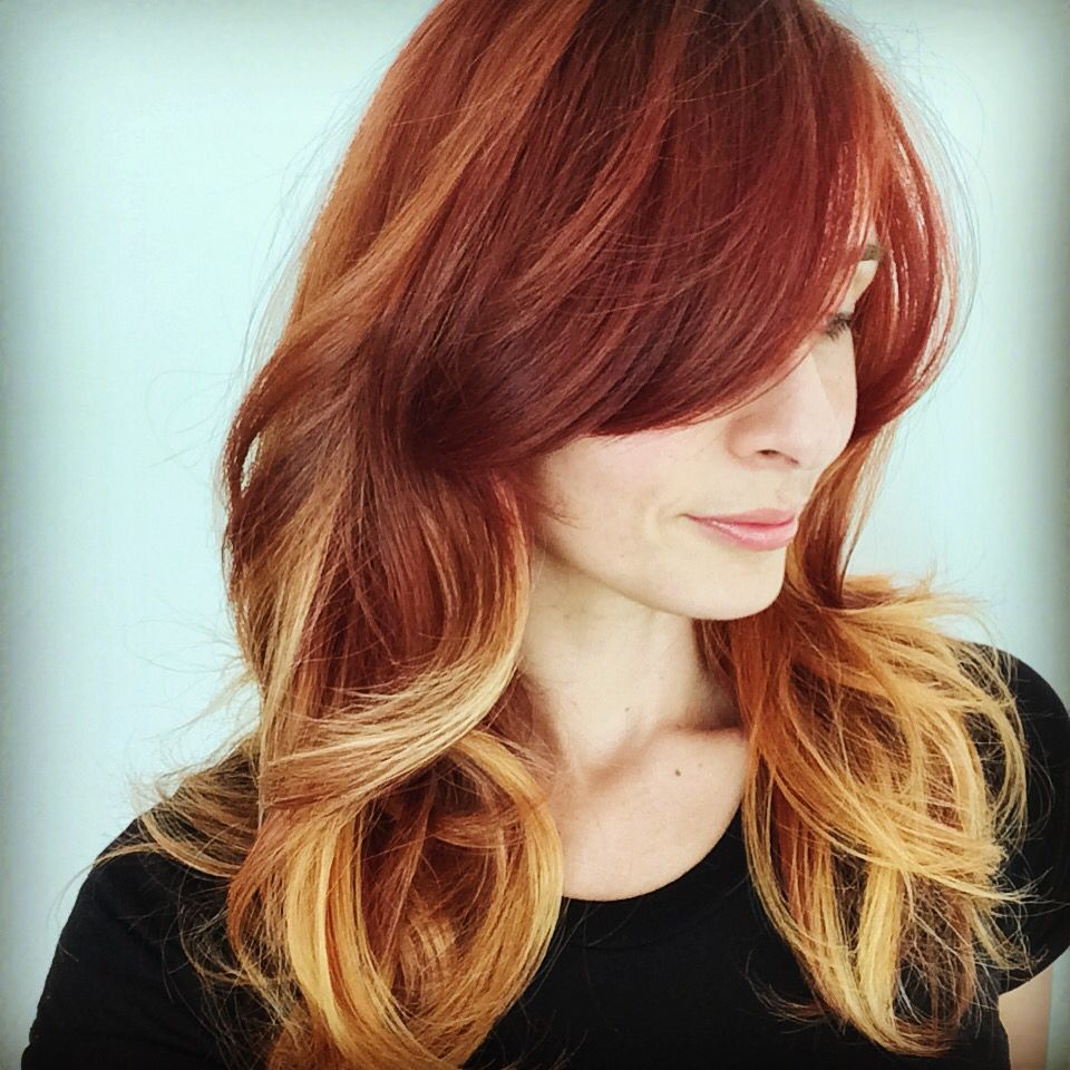 Red hair and highlights.