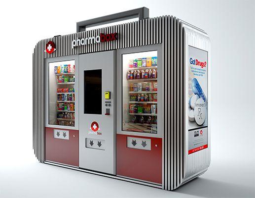 Pharmabox Closeup Automated Drug Store Vending Machine Design Vending Machine Kiosk Design