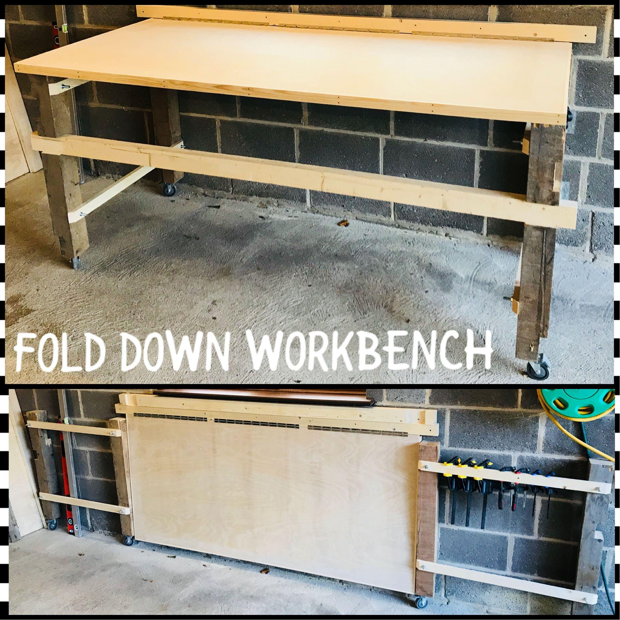 Diy Fold Down Workbench Reclaimed Wood Legs With Heavy Duty