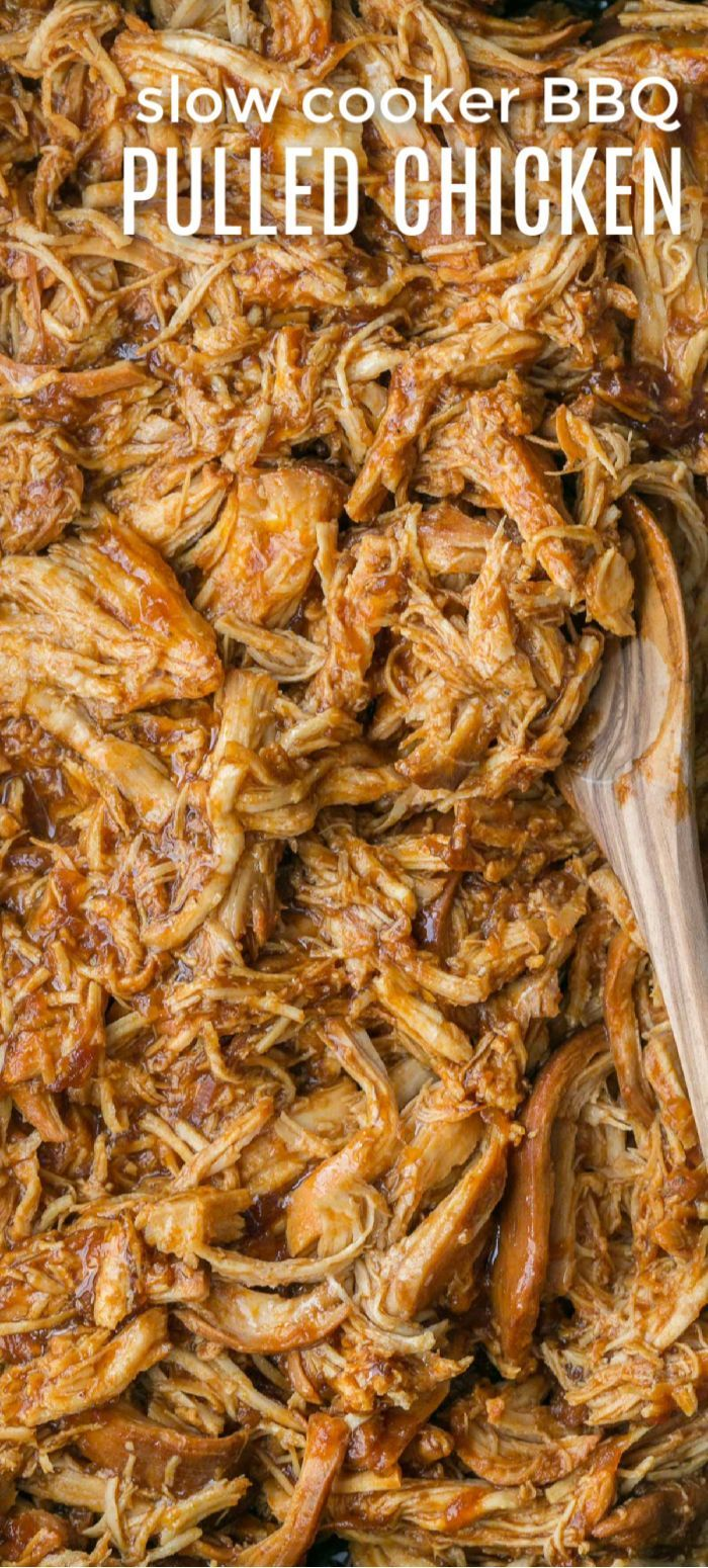 Crockpot BBQ Chicken - The Best Slow Cooker Pulled Chicken! Fall-apart tender chicken, juicy and delicious!