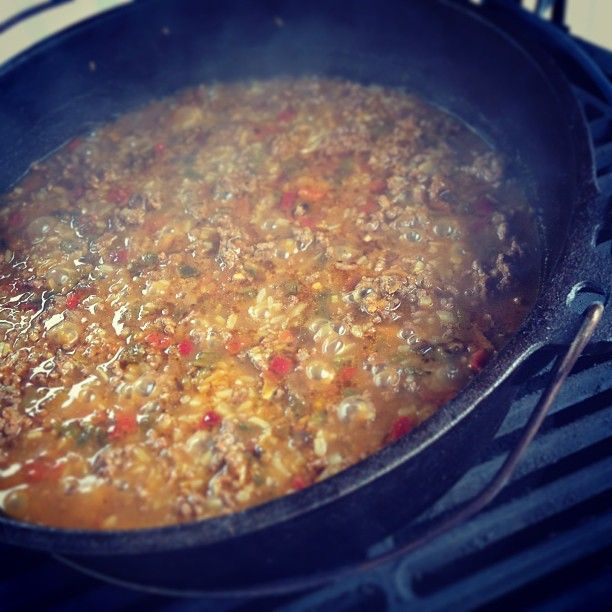 The Big Green Egg Dutch Oven Cooking Up Some Jambalaya