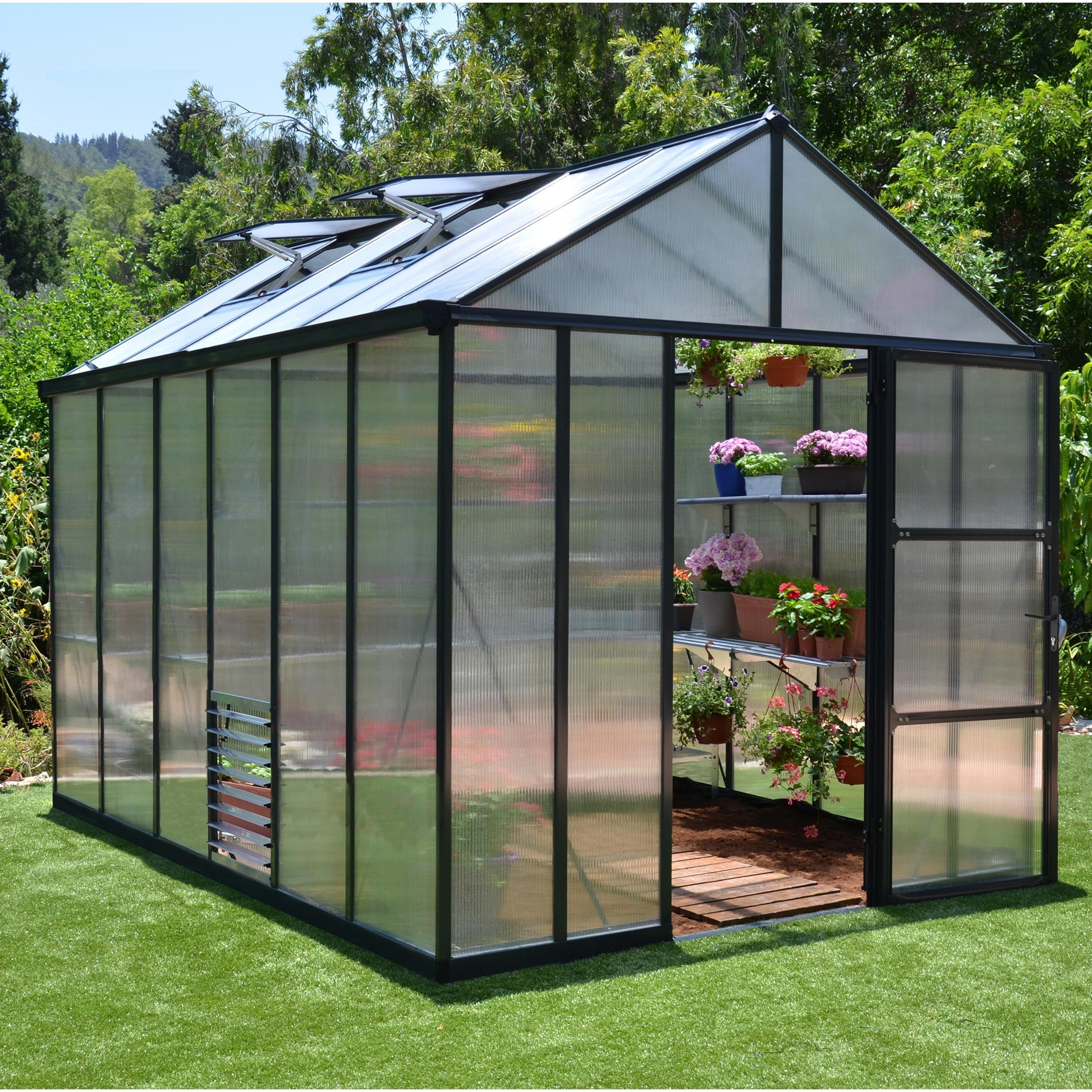 Serre De Jardin Glory 8 6 M Aluminium Et Polycarbonate Double Parois Palram En 2020 Serre Arriere Cour Serre Jardin Maison Verte