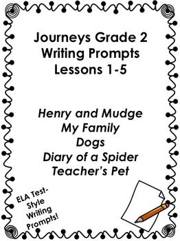 Journeys Grade 2 Unit 1 Lessons 1 5 Writing Prompts 2nd Grade