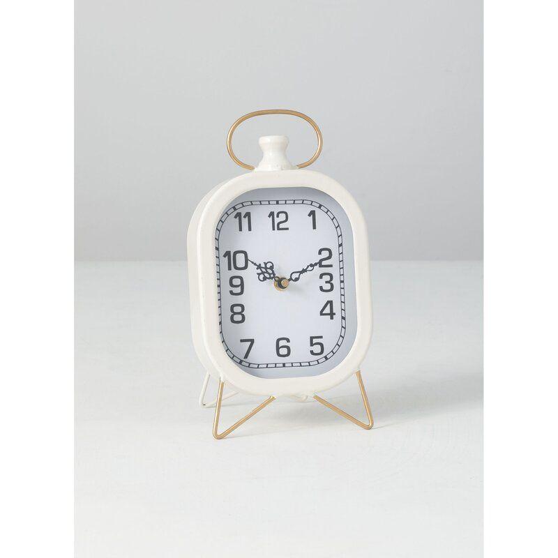 Desk Analog Metal Mechanical Tabletop Clock In White White Desk Clock Desk Clock Tabletop Clocks