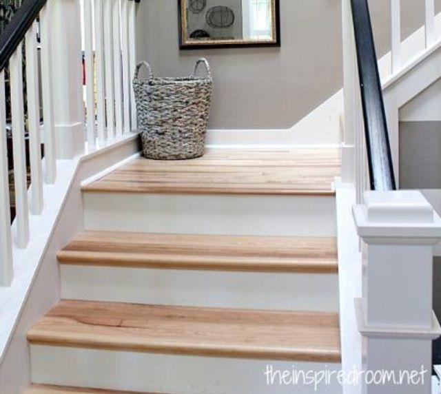 Best White Wood Stairs Stairway Gallery Hickory Wood Floors 400 x 300