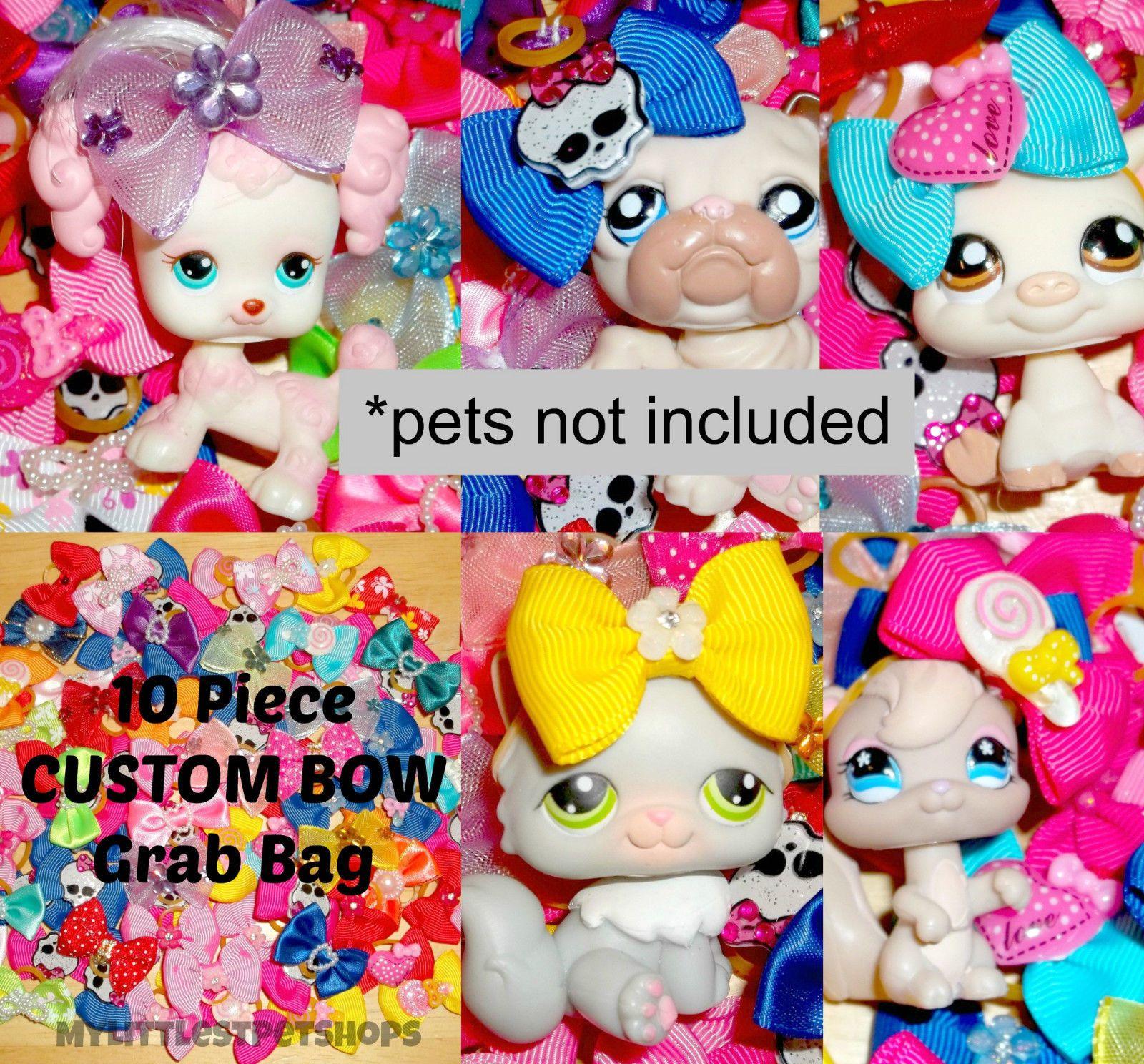 10 pc littlest pet shop custom lps bow accessory grab bag
