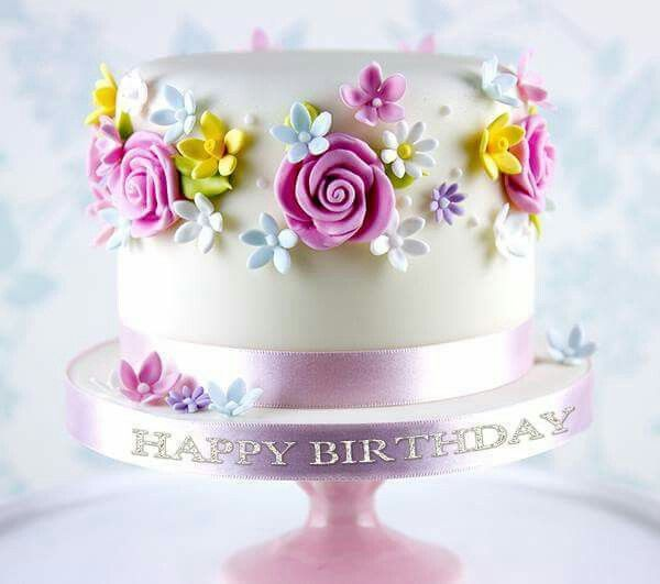 Cake with flower delicious sweet cake pinterest cake sweet birthday cake adorned with pretty flowers mightylinksfo