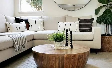 Beliveau Solid Wood Drum Coffee Table In 2020 Dark Wood Coffee