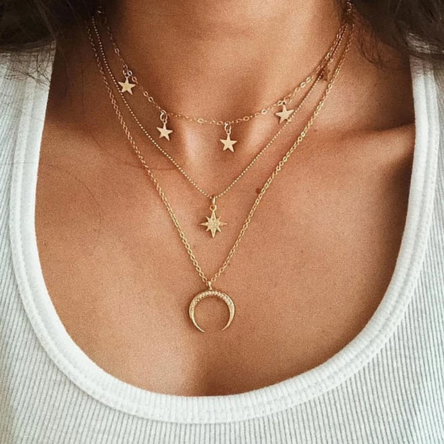 Photo of Bohemian Multilayer Golden Geometric Charm Necklaces