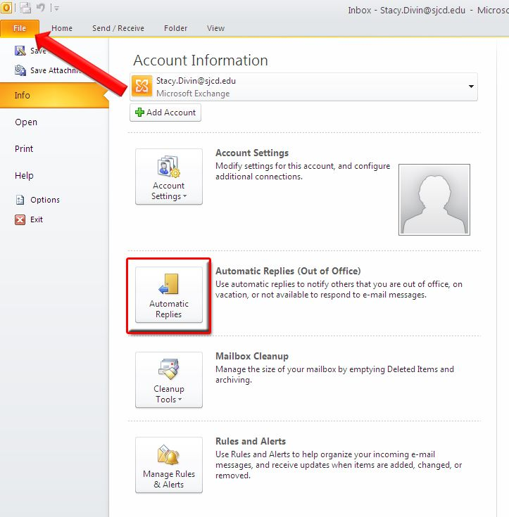 Out Of Office Reply In Outlook Out Of Office Reply Setting Option Folders
