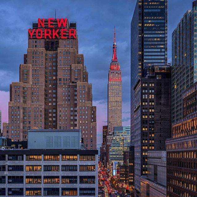 The New York Skyline Featuring The Wyndham New Yorker Hotel The Empire State Building And One Penn Plaza City Aesthetic Dream City New York City