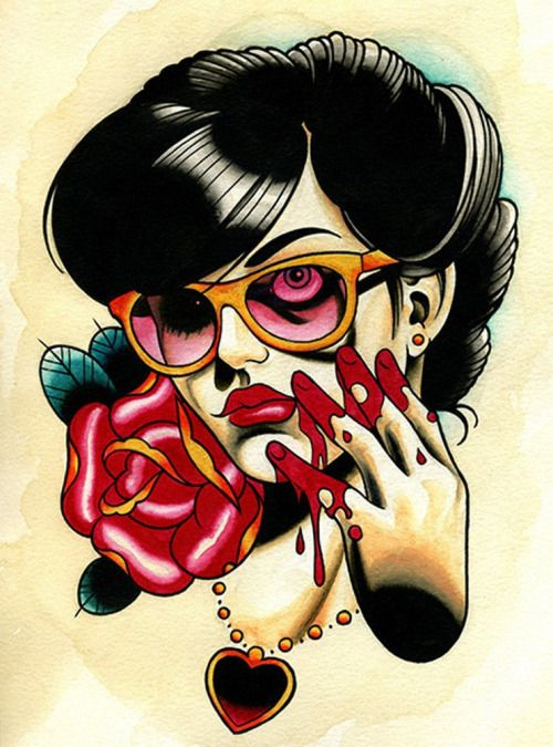 Rose Bloodyhand By Brian Kelly Horror Girl Tattoo Canvas Art