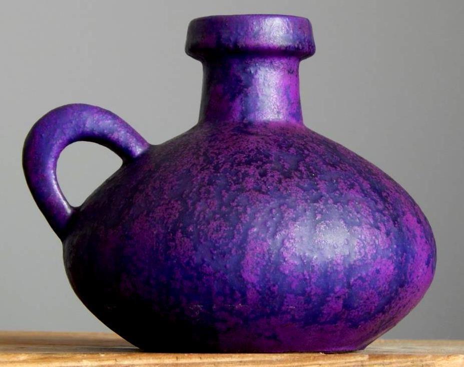 Vintage 60-70 s OTTO KERAMIK Purple Vase Jug West German Pottery Fat Lava Era