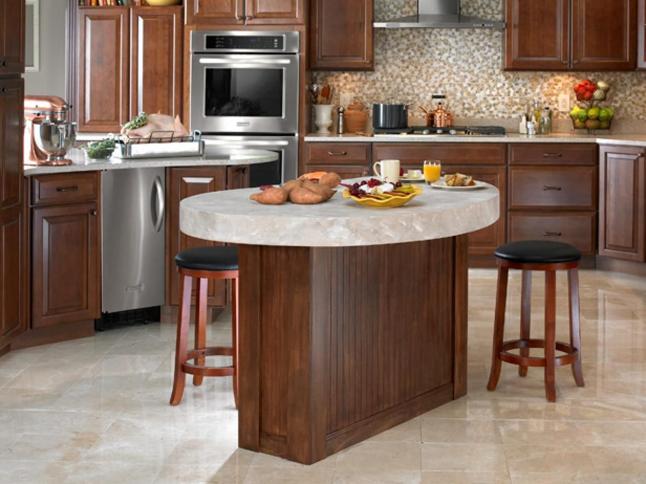 Curved Kitchen Island With Sink  Oval Kitchen Islands Design Classy Kitchen Islands Decorating Inspiration