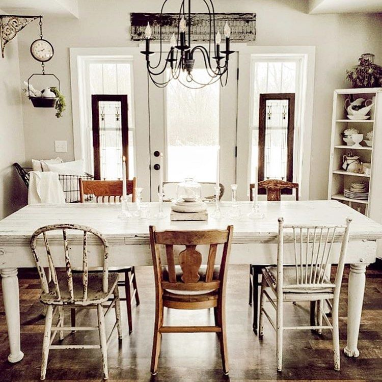 We Love These Mismatched Dining Chairs From Farmhousefor8 Their Neutral Tones And Simila Farmhouse Dining Rooms Decor Farmhouse Dining Farmhouse Dining Room Shabby chic dining rooms chairs