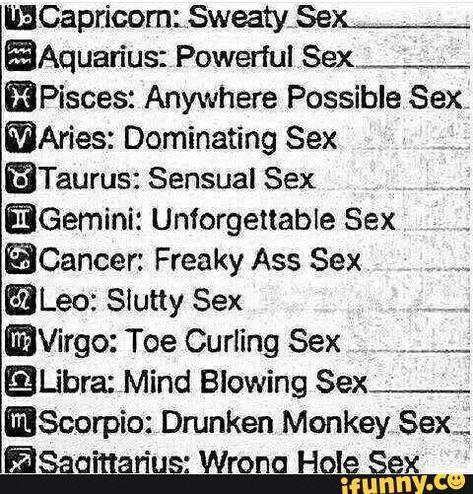 Zodiac sign sex chart