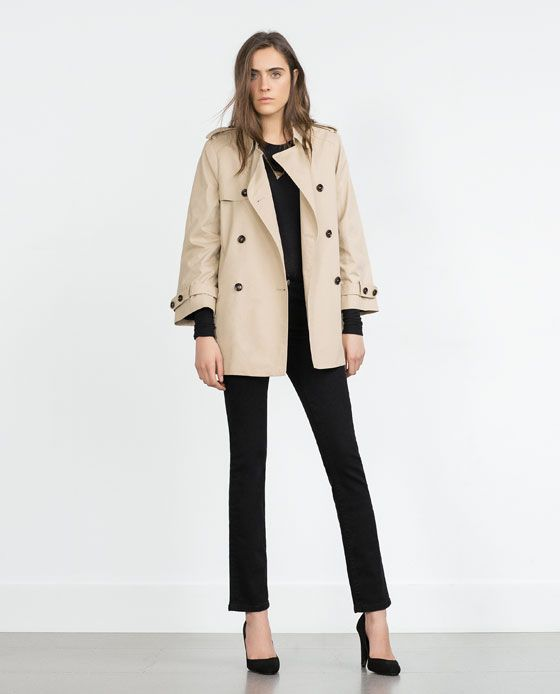b0233576 Image 1 of SHORT TRENCH COAT from Zara   Clothes   Short trench coat ...