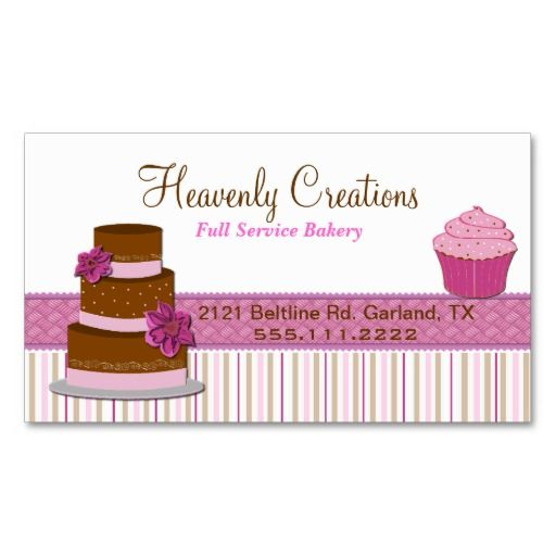 Bakery cupcake business card business cards bakeries and bakery bakery cupcake business card reheart Images