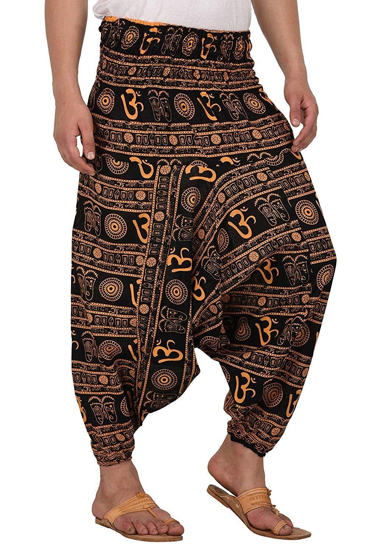 Men Women Premium Quality Cotton Baggy Hippie Boho Gypsy Aladdin Yoga Harem Pants with Pockets - Om...