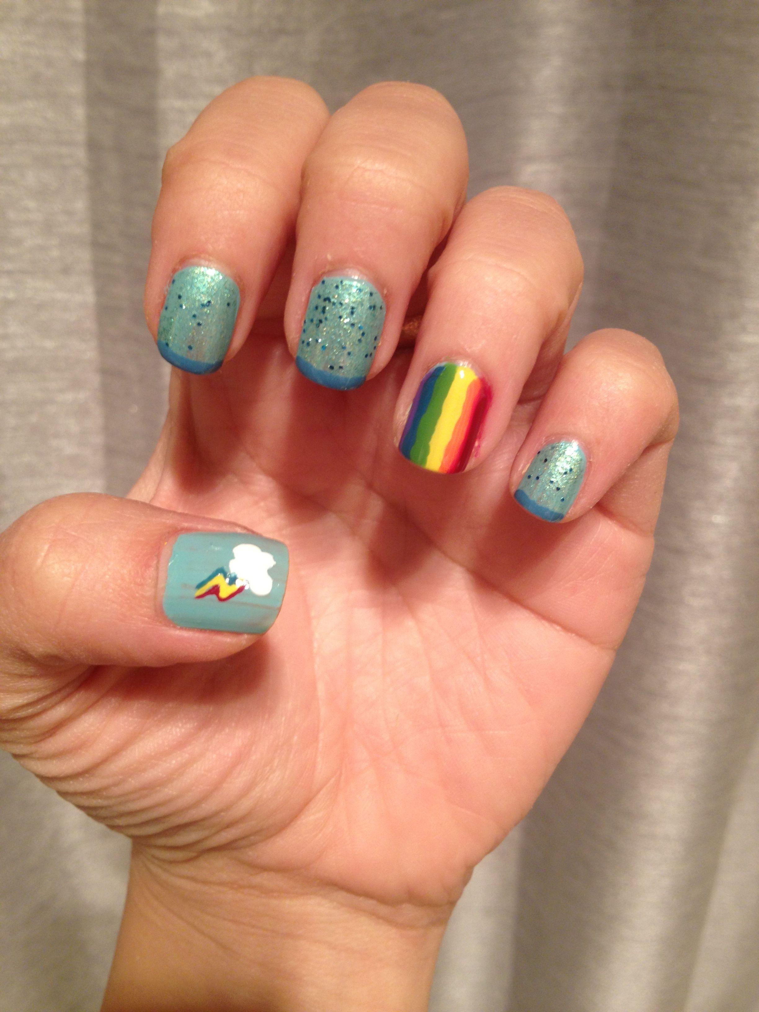 Mlp rainbow dash nail art   My nails   Pinterest