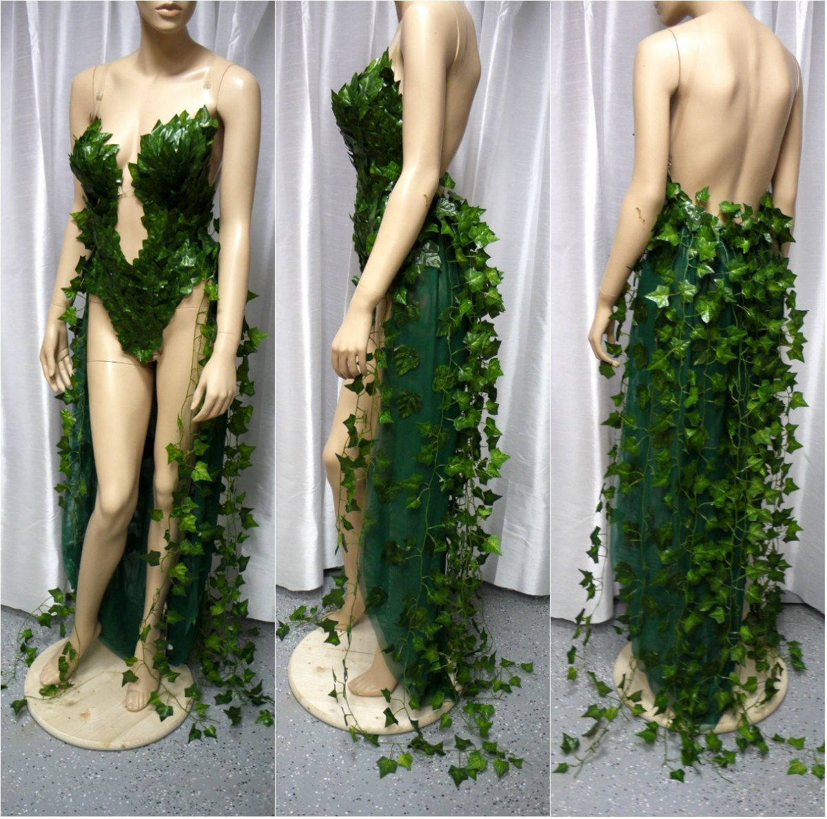 Poison Ivy Monokini Gown With Train Costume Cosplay Dance Costume