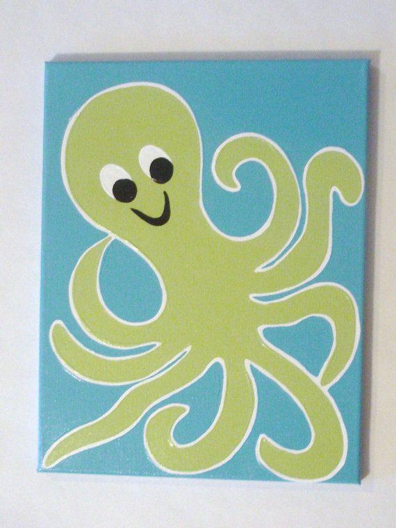 Octopus painting ocean painting octopus by ModernSimpleBaby
