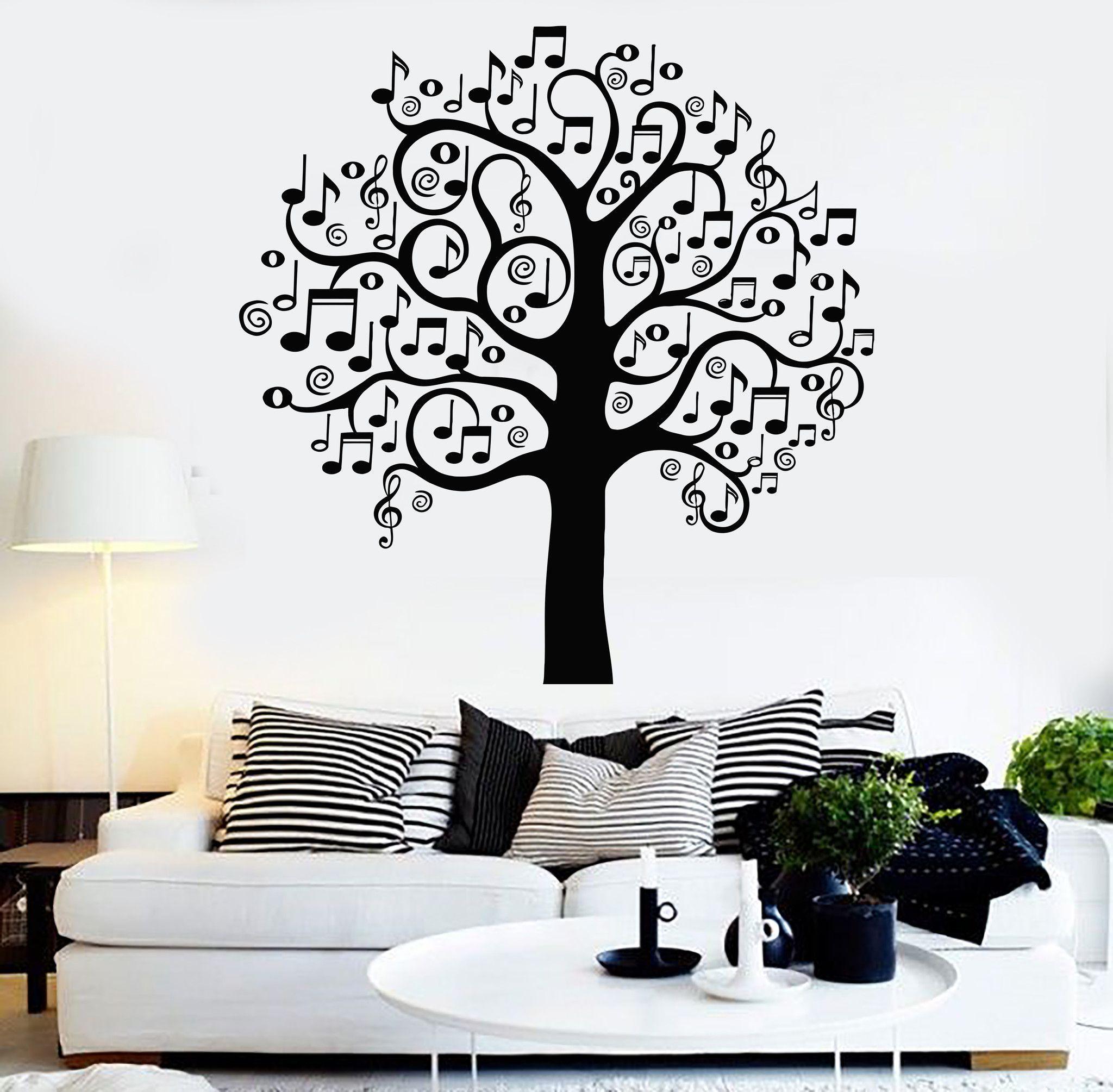 Vinyl Wall Decal Musical Tree Music Art Decor Home Decoration