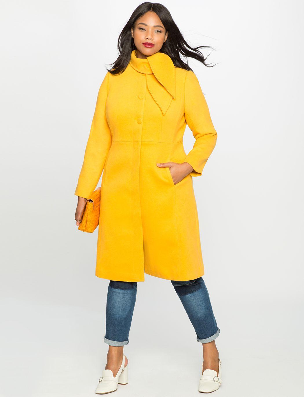 Studio Neck Tie Fit And Flare Coat Women S Plus Size Jackets Coats Eloquii Outerwear Women Fit And Flare Coat Women Outerwear Jacket [ 1370 x 1050 Pixel ]