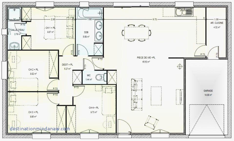 plan de maison plain pied 4 chambres 100m2 - Recherche Google | Plan maison plain pied, Plan ...