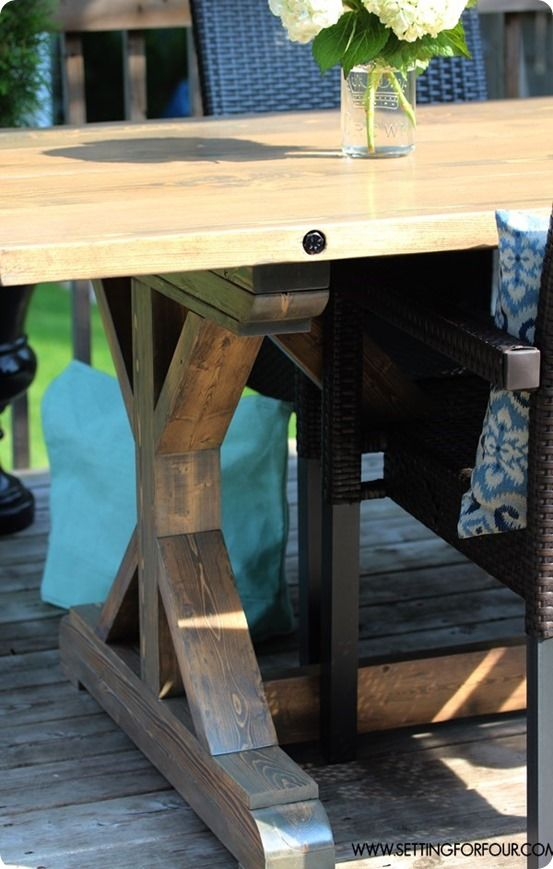 DIY Restoration Hardware Inspired Farmhouse Table   With Bolted Plank Top    Setting For Four