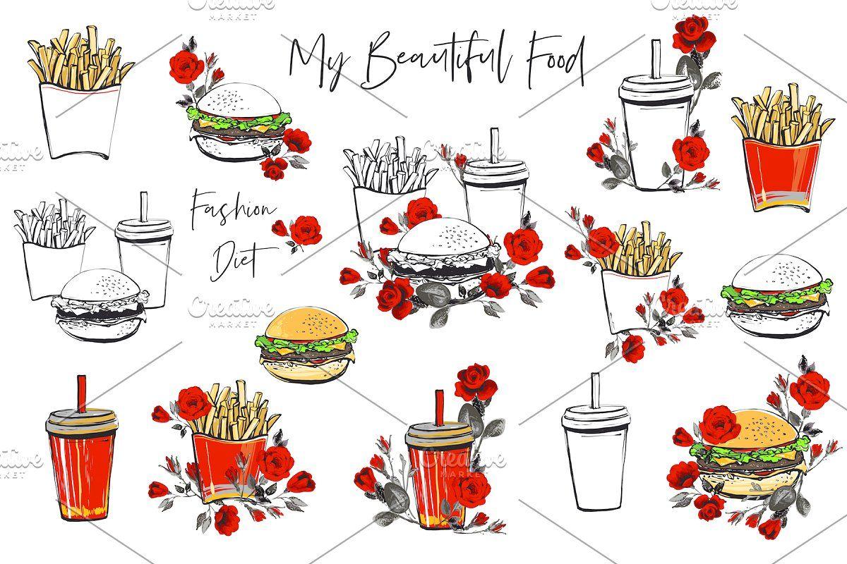 Fashion, Fastfood, Fast, Food, Burger, Icon, Set, Flower